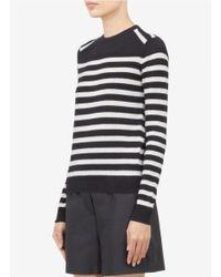 JOSEPH White Striped Cashmere Sweater
