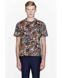 KENZO Brown Blue Tiger Print T-Shirt for men