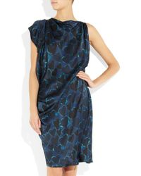 Lanvin - Blue Heart Print Silk Satin Dress - Lyst