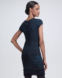 Roberto Cavalli - Blue Leopard print Sheath Dress - Lyst