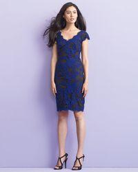 Tadashi Shoji Blue Embroidered Lace Cocktail Dress