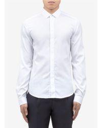 Valentino White Cotton Tuxedo Shirt for men
