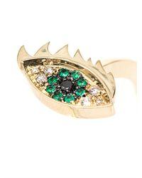 Delfina Delettrez - Green Diamond Sapphire Pearl Gold Eye Bangle - Lyst