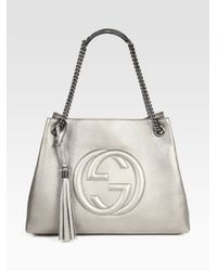 39a5f9e1ae98 Lyst - Gucci Soho Leather Shoulder Bag in Metallic
