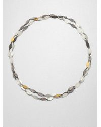 Gurhan | Multicolor 24K Yellow Gold & Two-Tone Sterling Silver Leaf Link Necklace | Lyst