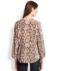 Joie | Brown Purine Silk Pythonprint Blouse | Lyst