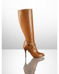 f67de0d93bd0 Ralph Lauren Collection Concord Calf High-heel Boot in Brown - Lyst
