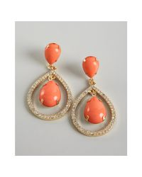 R.j. Graziano - Red Coral and Gold Crystal Encrusted Drop Earrings - Lyst