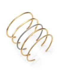Saint Laurent Metallic Textured Cuff Bracelet