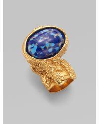 Saint Laurent - Metallic Goldtone Arty Ovale Ring - Lyst