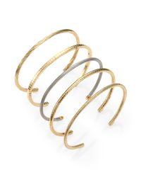 Saint Laurent - Metallic Sterling Silver Cable Cuff Bracelet - Lyst