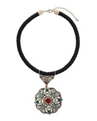 TOPSHOP - Multicolor Antique Pendant Necklace - Lyst