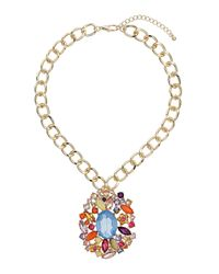 TOPSHOP - Multicolor Rhinestone Chain Necklace - Lyst