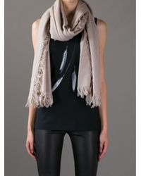 Ann Demeulemeester Natural Cashmere Fringed Scarf
