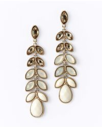 Ann Taylor - White Ombre Leaf Chandelier Earrings - Lyst
