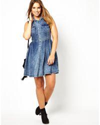 Boutique by Jaeger Blue Asos Curve Shirt Dress in Acid Wash