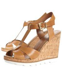 Dune Brown Giraffe Eva Tbar Leather Cork Wedge Sandals