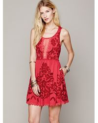 Free People Love Letters Burnout Dress In Red Lyst
