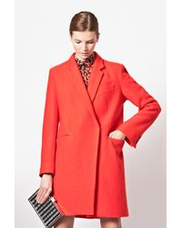 French Connection Orange Belle Boucle Wool Coat