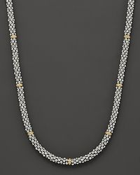 "Lagos | Metallic Caviar Mini Rope Necklace With 18 Kt. Stations, 16""l 