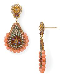 Miguel Ases | Orange Pink Coral and Swarovski Rondelle Earrings | Lyst