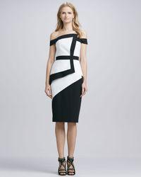 Black Halo Black La Reina Colorblock Offtheshoulder Dress