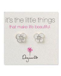 Dogeared Metallic Sterling Silver Graces Flower Earrings