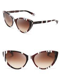 Dolce & Gabbana Multicolor Striped Cat Eye Sunglasses