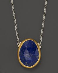 """Gurhan Blue Sterling Silver And 24K Yellow Gold Lapis Pendant Elements Necklace, 18"""""""