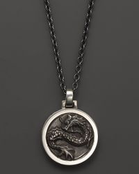 John Hardy | Black Mens Naga Silver Round Pendant Necklace 24 for Men | Lyst