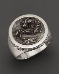 John Hardy Metallic Men'S Naga Silver Round Ring for men