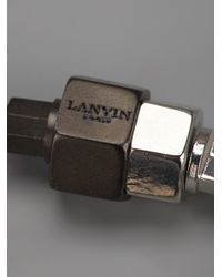 Lanvin | Metallic Bolt Detail Bracelet for Men | Lyst