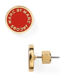 Marc By Marc Jacobs Red Enamel Logo Disc Stud Earrings