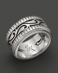 Scott Kay | Metallic Mens Sterling Silver Engraved Sparta Band Ring for Men | Lyst