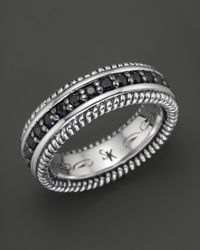 Scott Kay Metallic Mens Sterling Silver Eternity Style Ring with Black Sapphires for men
