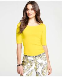 Ann Taylor Yellow Double Scoop Neck Cotton Tee
