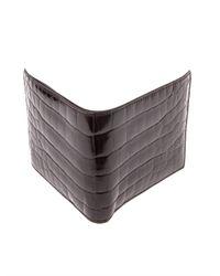 Bottega Veneta Brown Crocodile Bi-fold Wallet for men