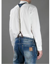 DSquared² Blue Denim Bib Braces for men