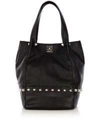 Karen Millen Black Studded Leather Bucket Bag