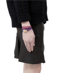Alexander McQueen Purple Layered Strap Leather Wrap Bracelet