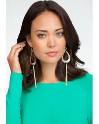 Bebe - Metallic Teardrop Tassel Earrings - Lyst
