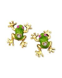 Betsey Johnson - Green Frog Stud Earrings - Lyst