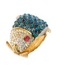 Betsey Johnson | Metallic Goldtone Crystal Blue Fish Hinge Bangle Bracelet | Lyst