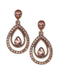 Givenchy | Metallic Brown Goldtone Vintage Rose Swarovski Stone Teardrop Earrings | Lyst