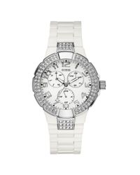 Guess Watch Womens White Polycarbonate Strap 41mm