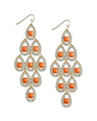 INC International Concepts | Multicolor Goldtone Coral Stone Pave Chandelier Earrings | Lyst