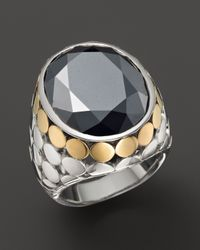 John Hardy | Metallic 18K Gold & Sterling Silver Dot Large Oval Ring With Hematite | Lyst