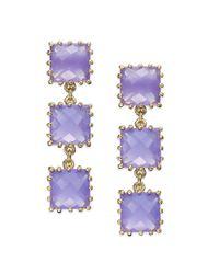kate spade new york - Kate Spade New York Earrings Gold Tone Light Purple Stone Linear Drop Earrings - Lyst