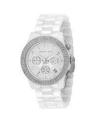 Michael Kors | Runway Stainless Steel & White Ceramic Glitz Chronograph Bracelet Watch | Lyst