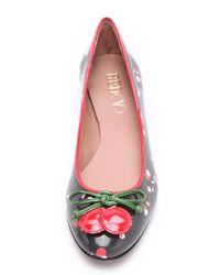 RED Valentino Black Cherry Print Ballerina Flats